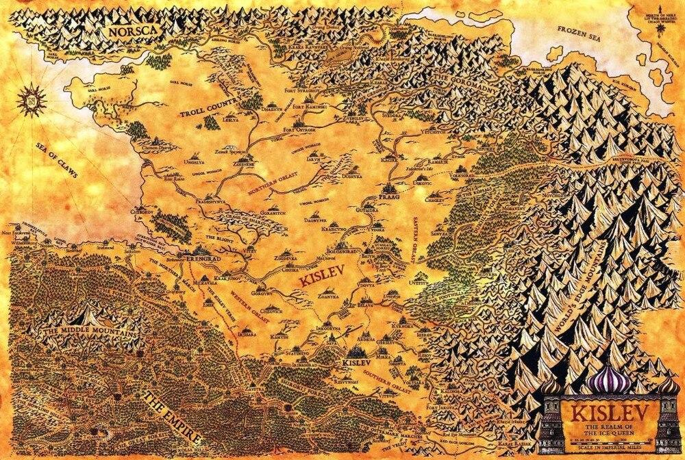 Kislev o reino da rainha do gelo mapa clássico vintage retro kraft poster decorativo mapas da barra de casa posters parede da lona adesivo de