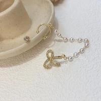 mengjiqiao 2021 fashion cute micro paved zircon bowknot stud earrings for women girls elegant pearl chain pendientes jewelry