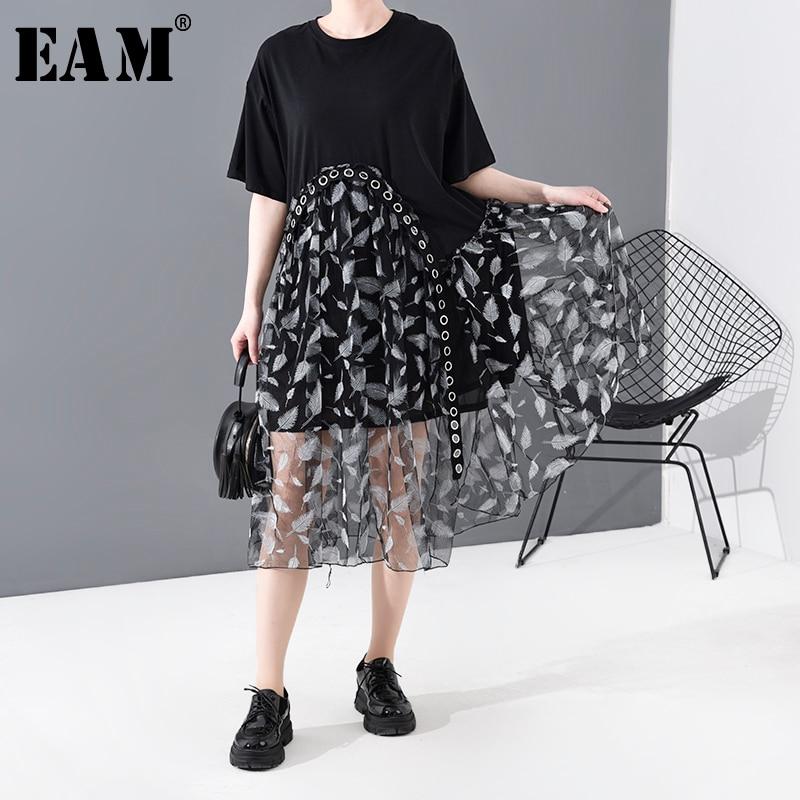 [EAM] Women Black Dot Mesh Split Big Size Dress New Round Neck Short  Sleeve Loose Fit Fashion Tide Spring Summer  2020 1T796
