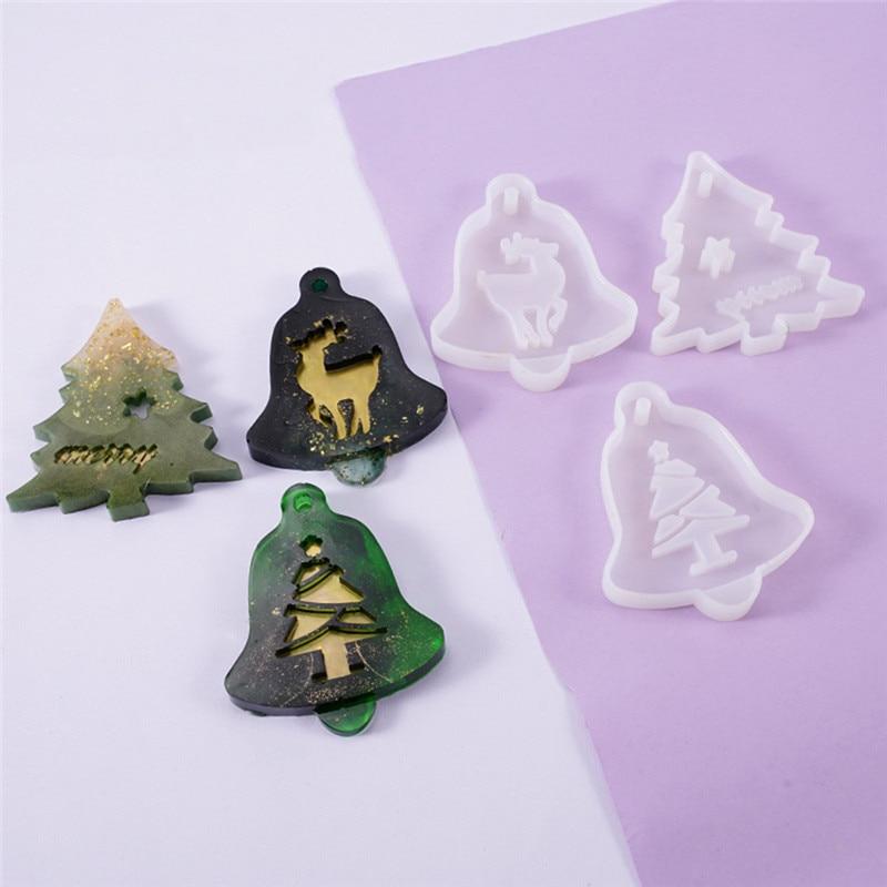 Molde de silicona transparente, colgante de alce de árbol de Navidad, artesanía decorativa de resina, molde DIY, Moldes de resina epoxi para joyería