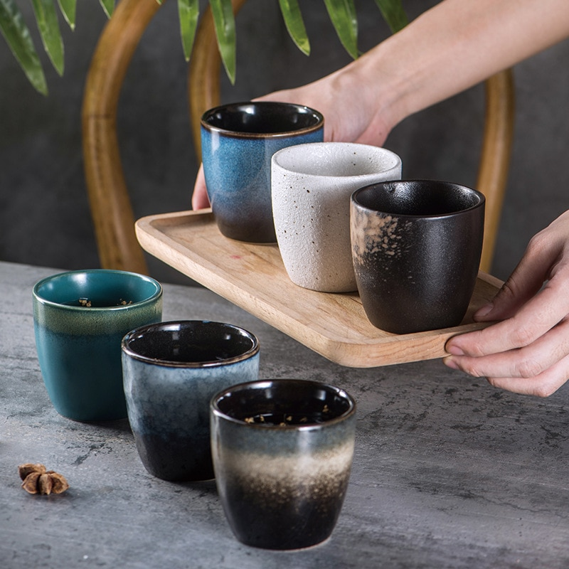 150ml Retro chino Taza de cerámica hecha a mano al azar textura Color esmalte de alta temperatura disparar taza de porcelana tazas de té