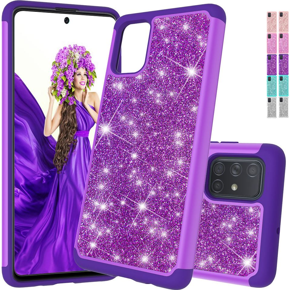 2in1 espumante senhora escudo do telefone para samsung galaxy j7 perx céu pro j720 note10 5g s20 glitter capa traseira gel macio titular d03f