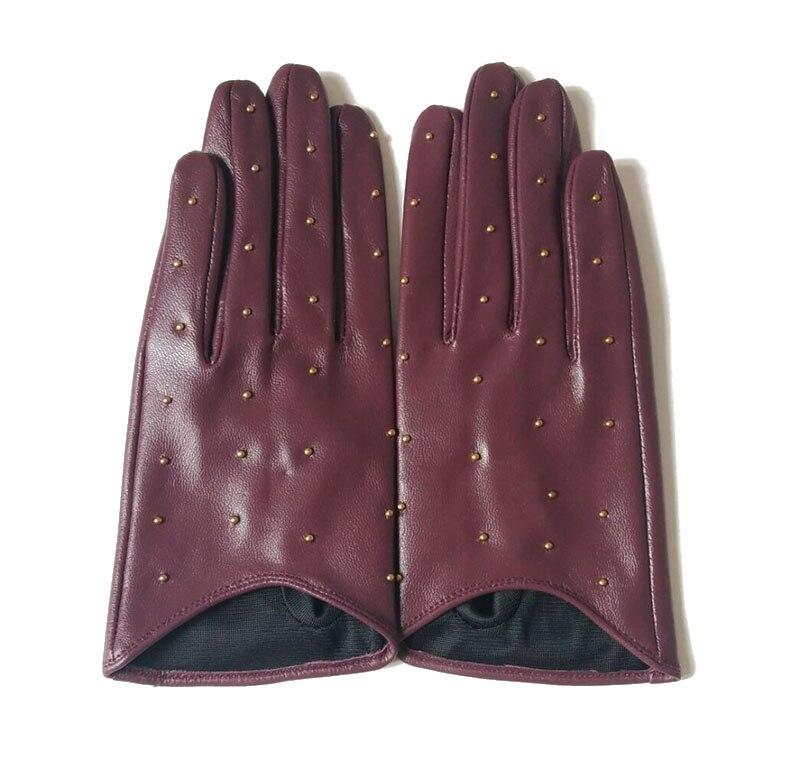 2020 guantes de media palma tachuelas alfileres remaches de moda para conducir guantes auténticos de Cuero de cabra Real mitones de moda de las mujeres cuero Real G594