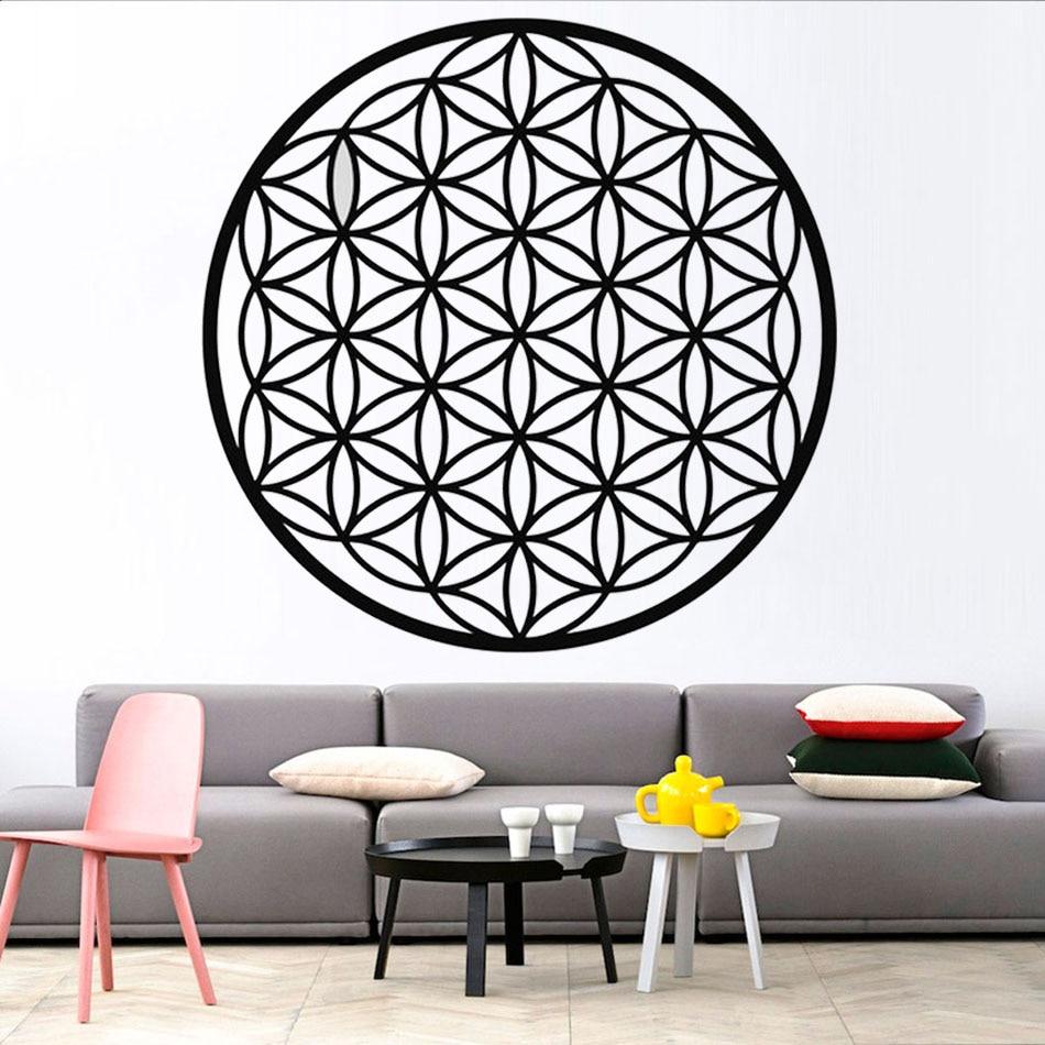 Flower Of Life Wall Art Sticker,Sacred Geometry BedRoom Decor Spiritual Symbol Removable Vinyl Decal Art Mural Home Decor  LW691
