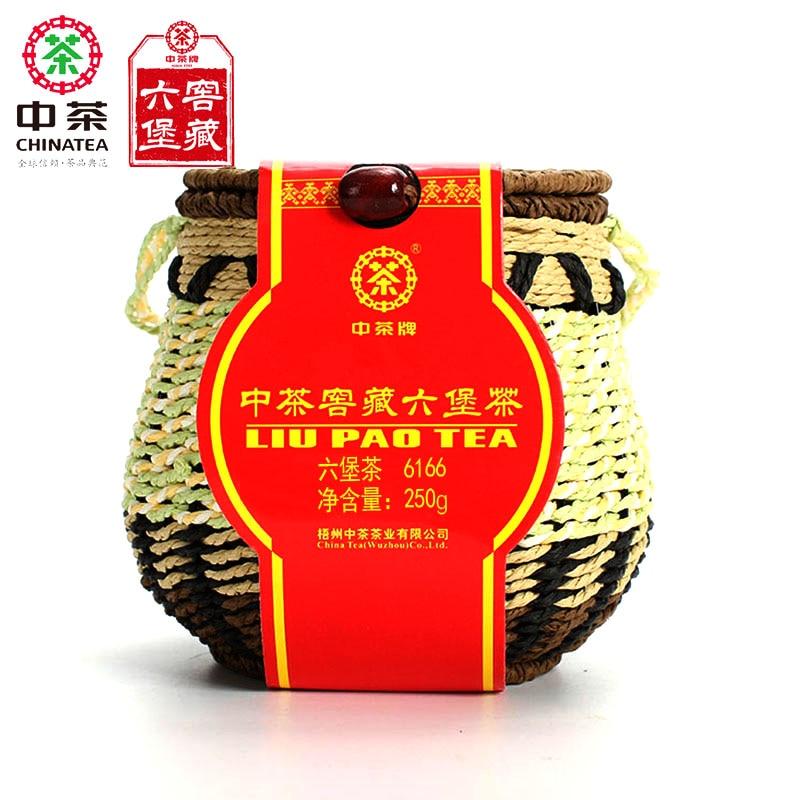CHINATEA 6166 Liu Pao Hei Cha Liu Bao de negro Guangxi Wuzhou té oscuro en la cesta de 250g