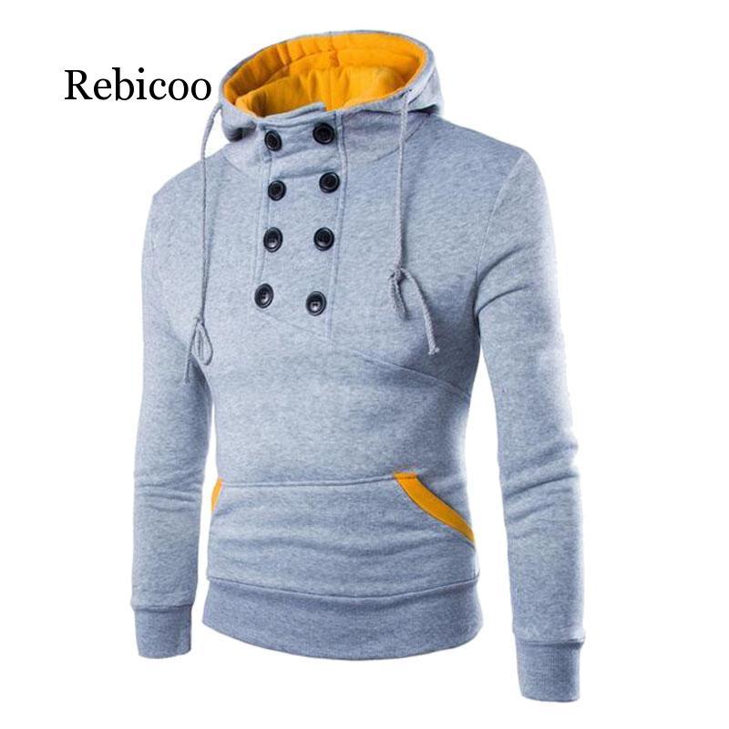 Осенние новые мужские толстовки с капюшоном, повседневные одноцветные толстовки с длинным рукавом, мужские облегающие пуловеры, толстовка ...
