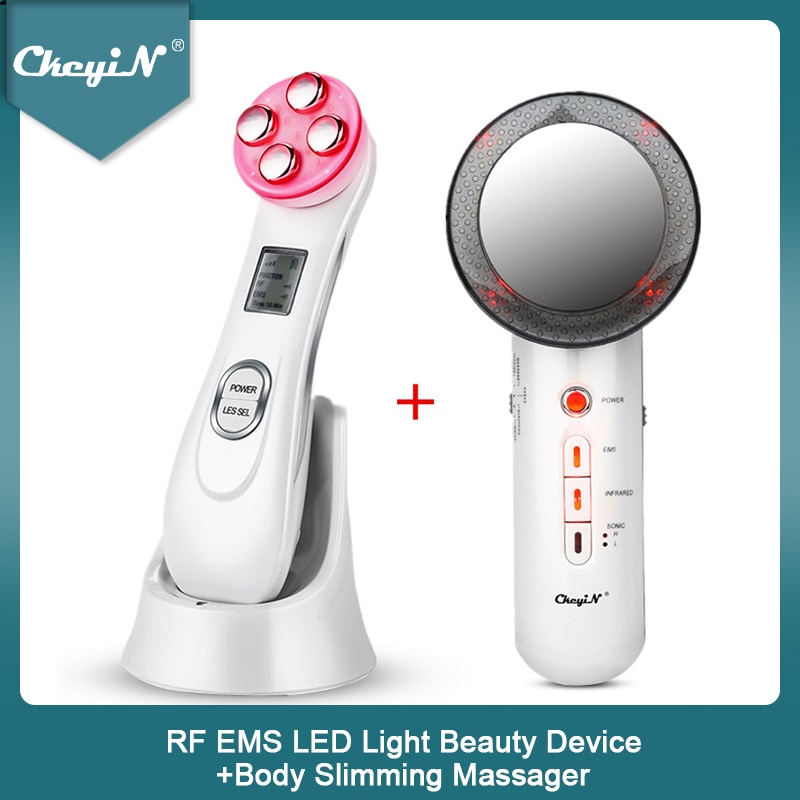 RF EMS LED Light Facial Massage Machine Wrinkles Removal + Ultrasonic Far infrared Face Skin Body Slimming Massager Fat Burner45