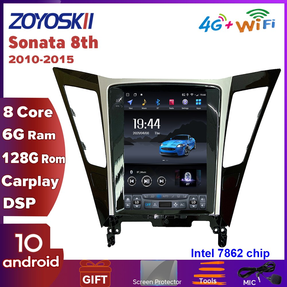 ZOYOSKII مشغل أندرويد 10.4 بوصة شاشة تسلا رأسية للسيارة نظام ملاحة جي بي إس راديو متعدد الوسائط مزود بخاصية البلوتوث لسيارة هونداي سوناتا 8 2010-2015