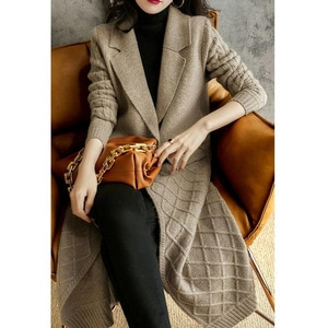 2021 vintage grey New Cardigan Sweater coats outerwear  Long Women  Knitted Female Sweater overcoats