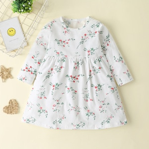 Autumn  children's clothing casual elegant long-sleeved girls dress floral round neck girls princess dress 1-6 y pastel clothes