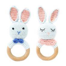 Bébé en bois coton mignon lapin anneau de dentition bricolage Crochet lapin hochet sucette Bracelet molaire jouets pour bébé photographie accessoires