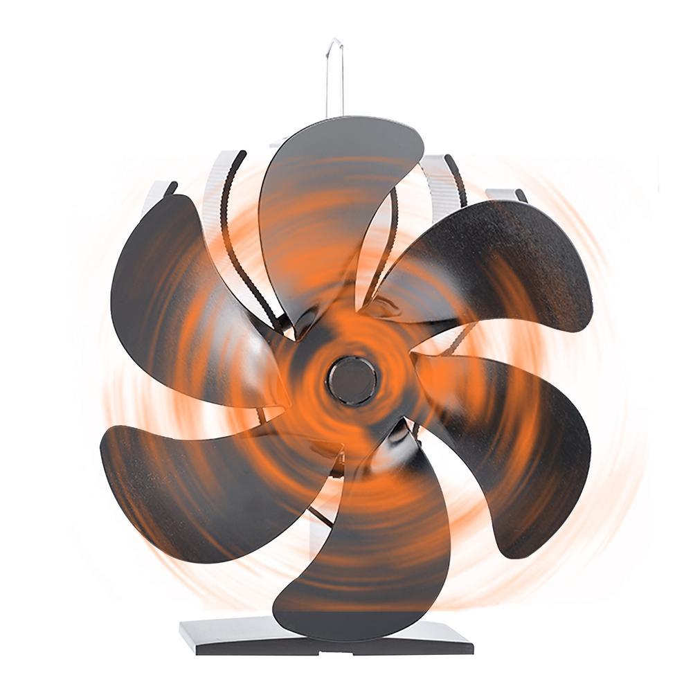 6 شفرات موقد مروحة مروحة تعمل بالطاقة الحرارية الخشب مع عملية هادئة وحماية ارتفاع درجة الحرارة مروحة صغيرة الحجم صديقة للبيئة الموقد