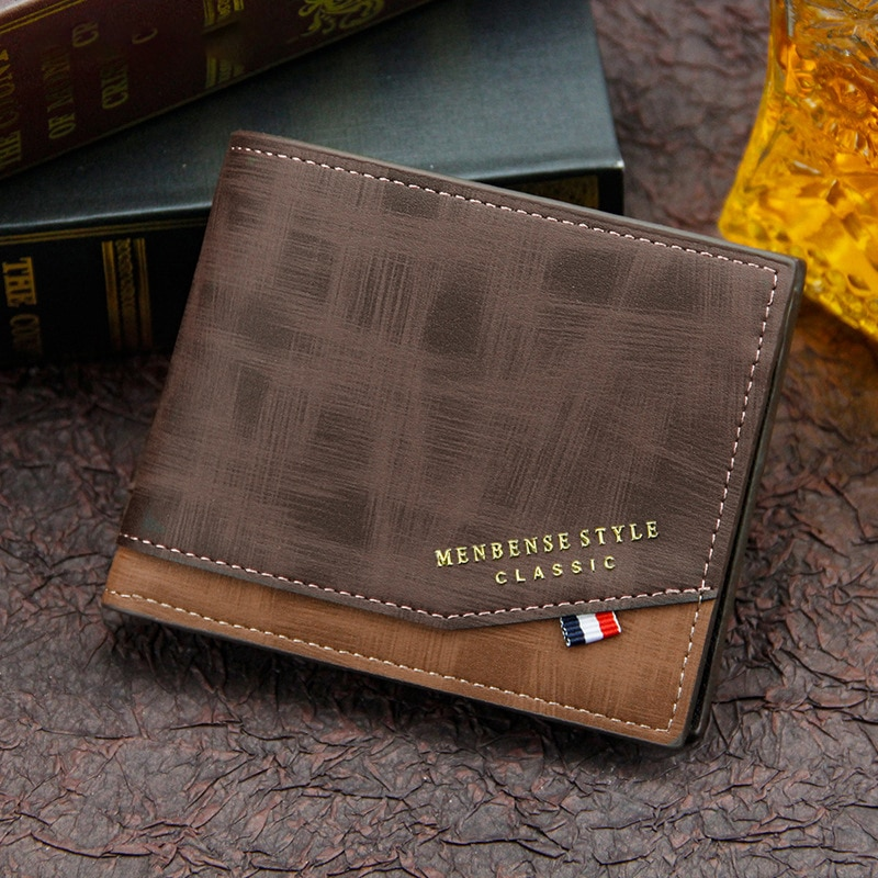 Fashion Men's Wallet Money Bag Solid Color Leather Business Short Wallet Famous Vintage Walltes Mult