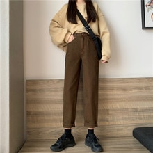2020 Early Autumn New Casual Fashion Retro High Waist Slimming Straight Pants Korean Style Brown All