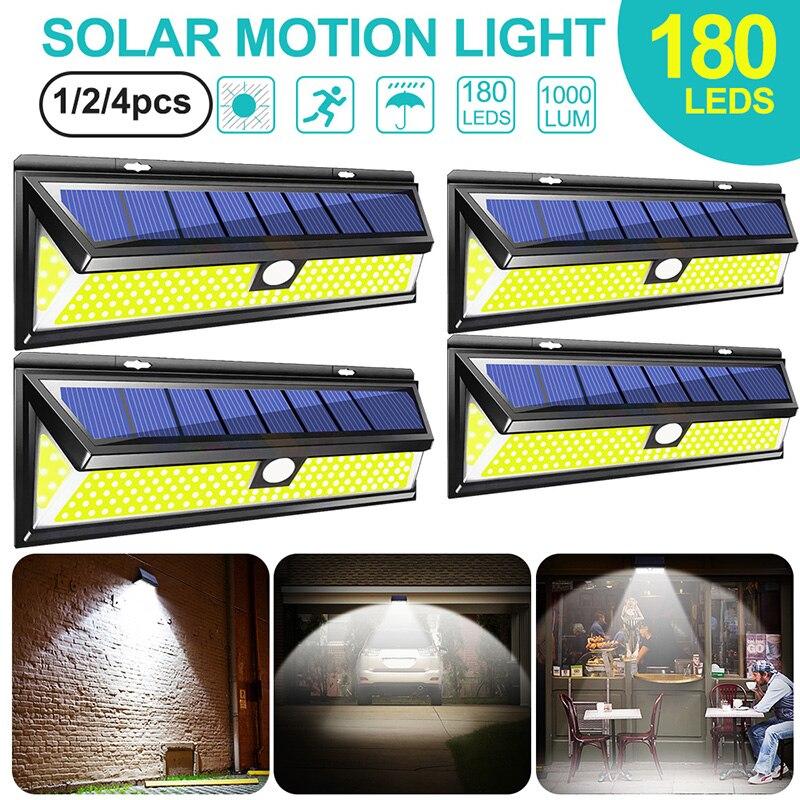 180 LED COB 3 modos Sensor de luz por movimiento PIR Solar al aire libre 4 Uds lámpara Solar de pared impermeable ahorro de energía jardín patio luces