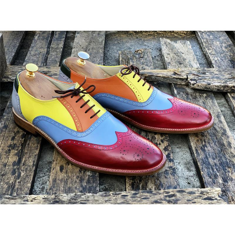 Men's Handmade High-quality PU Color Matching Color Hollow Lace-up Pointed Toe Low-heel Fashion Casu