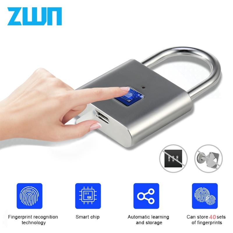 ZWN H1 Keyless USB Rechargeable Fingerprint Smart Padlock Quick Unlock Door Lock Zinc alloy Metal Self Developing Chip