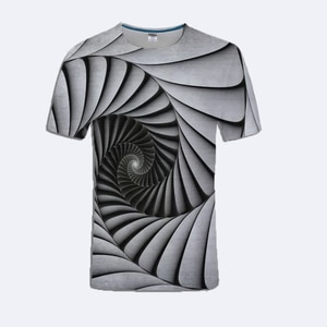 Summer Unisex Round Neck Short Sleeve Pullover Funny Creative 3D Black and White Spiral Ladder Stereo Print T-Shirt Men