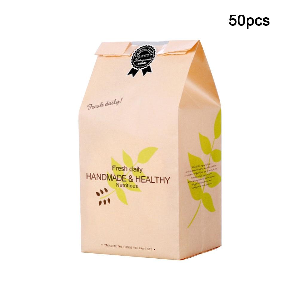 50 Uds. Bolsa de embalaje Durable para galletas, bolsa de regalo de fiesta para alimentos para niños, bolsa de papel para compras reutilizable para pan, dulces y comestibles