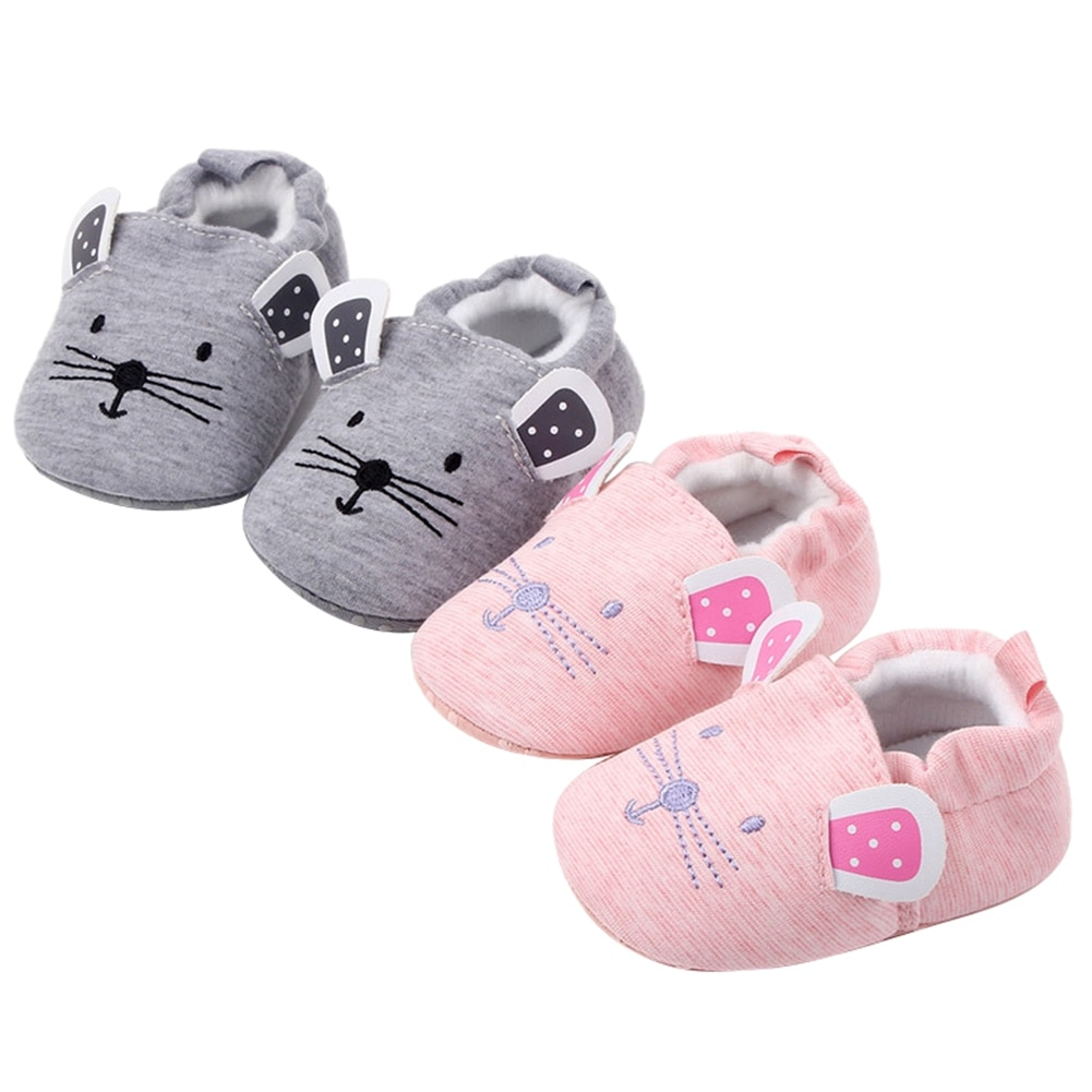 Newborn Infant Baby Boys Girls Slippers Soft Sole Non Skid Crib House Shoes Cute Animal Winter Warm Booties Gray/Pink
