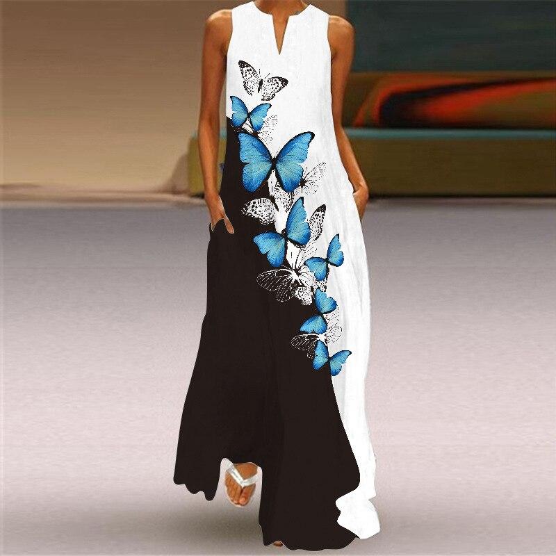 Summer Bohemain Long Sleeve Dresses Women Casual Print Floral Butterfly  Maxi Dress para mujer платье 2021