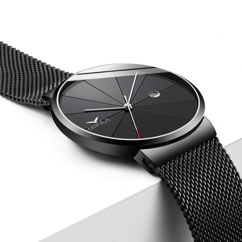 ONOLA marque simple hommes montres calendrier étanche mode décontracté montre-bracelet or tout noir relogio masculino