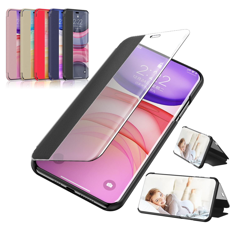 Novedad de 2020, carcasas transparentes con ventana y espejo inteligente para Samsung Galaxy A20E A20 E 3D, funda trasera de cuero con soporte, SamsungA20E A 20E