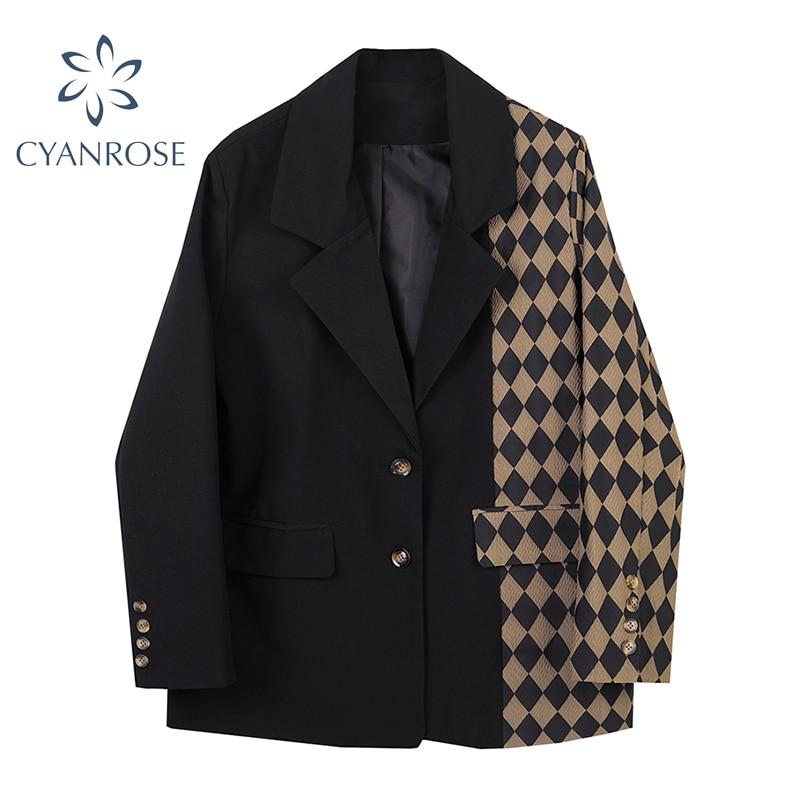 Women Plaid Patchwork Blazer Coats Autumn Streetwear Fashion Single-Breasted Long Sleeve Loose Casua