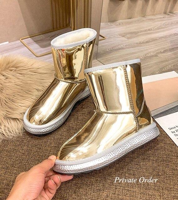 Envío Gratis mujeres señora negro oro metálico charol punta redonda salvaje cálido tubo corto botas de nieve botas de lana zapatos planos bomba