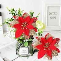 Artificial Flowers Christmas Ornament Glittery Leaf Flower Festival DIY Wreath Rattan Circle Decor Christmas Tree Flower