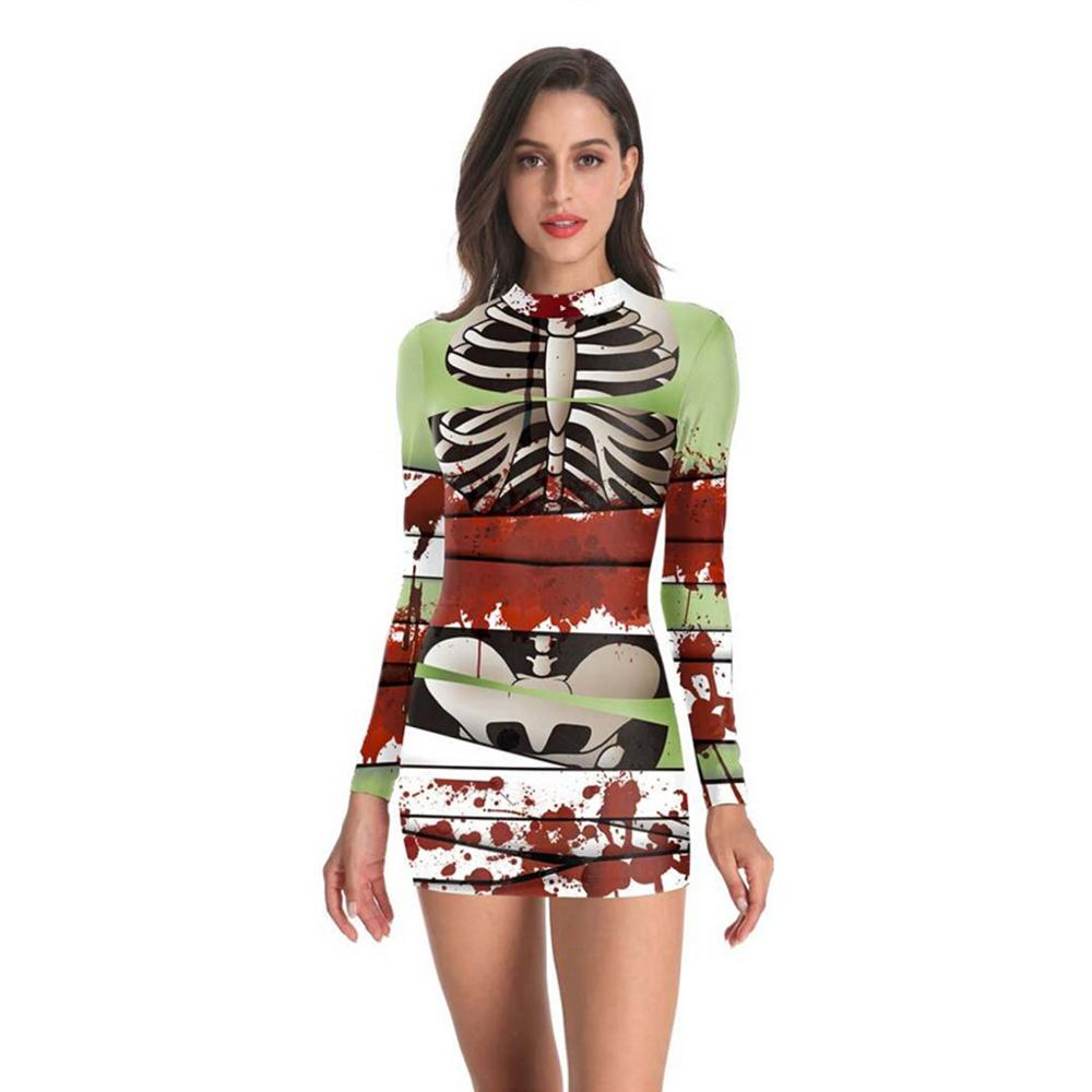 Disfraces de Halloween mujeres otoño verano vestido de lino Punk esqueleto sangre estampado manga larga Mini vestido Vestidos gota envío c
