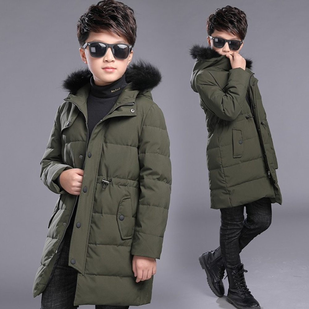 Hooded Outerwear Boys Puffer Coats Thicken Overcoat White Duck Down Jackets Solid Long Tops Teen Windproof Clothes Winter Coat enlarge
