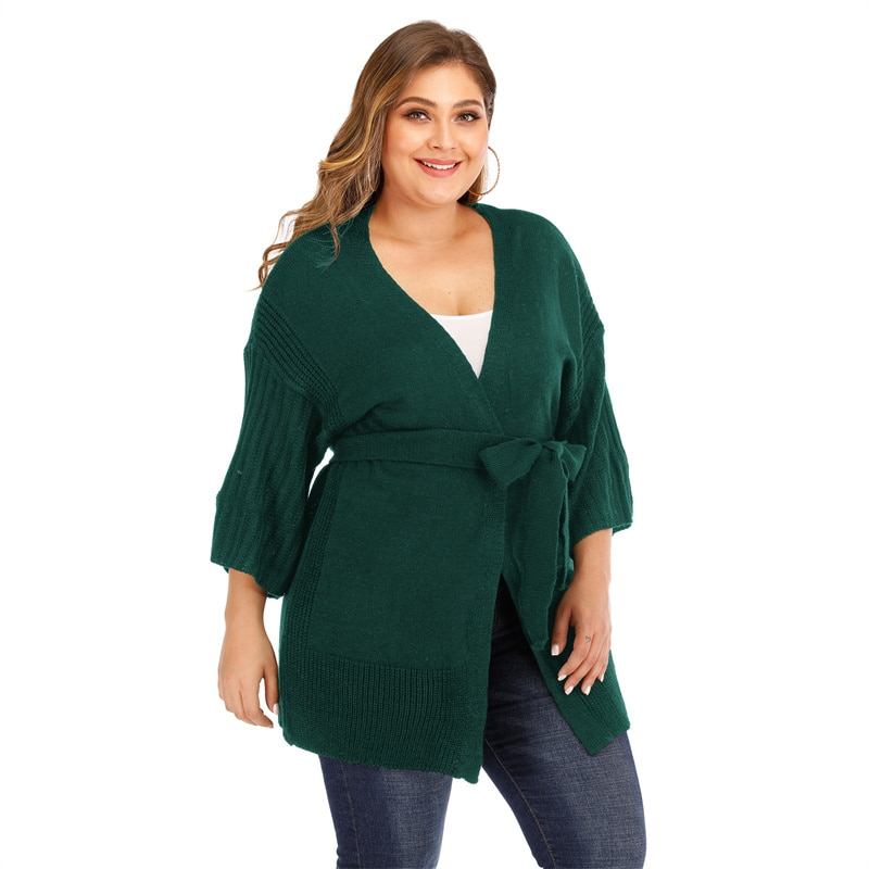 Fioncrow Cardigan Sweater Plus Size Casual V-neck Belt Solid Color Three-Quarter Sleeves Women's 2021 Autumn Clothes