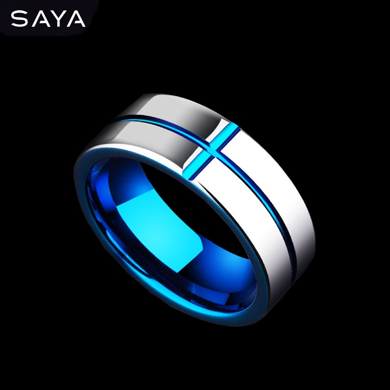 Men Tungsten Grooved Ring, Plate Blue Fashion Jewelry Ring for Wedding/Gift, Free Shipping, Customized free shipping 20 holes hole size 1 10 3 00mm half round shape draw plate jewelry tungsten drawplates