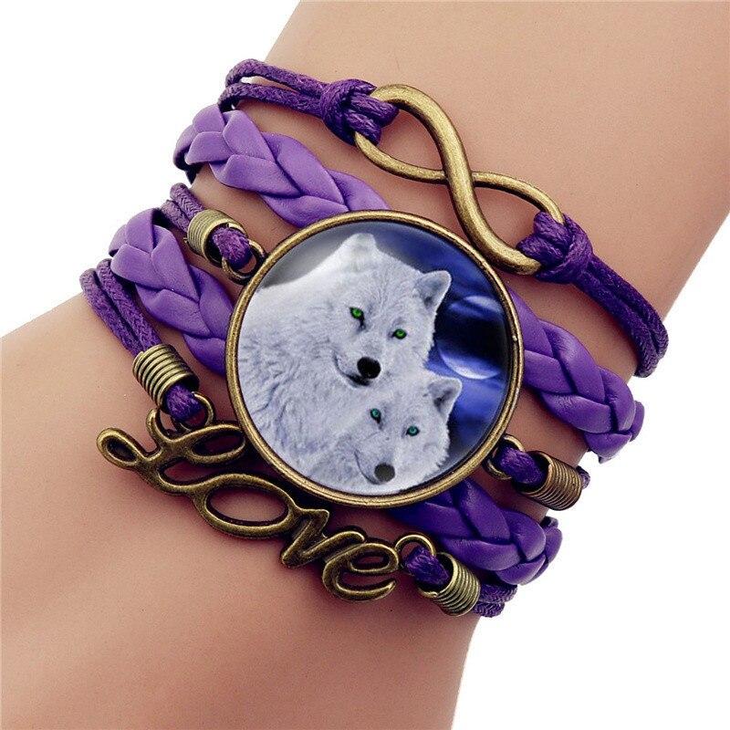 Pulsera de encanto de cúpula de cristal de luna de lobo gótico de Color negro a la moda, brazalete de joyería de amor para hombre, accesorios hechos a mano para regalo de Sirius