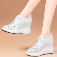 summer fashion sneakers women lace up genuine leather wedges high heel ankle boots female breathable chunky platform pumps shoes
