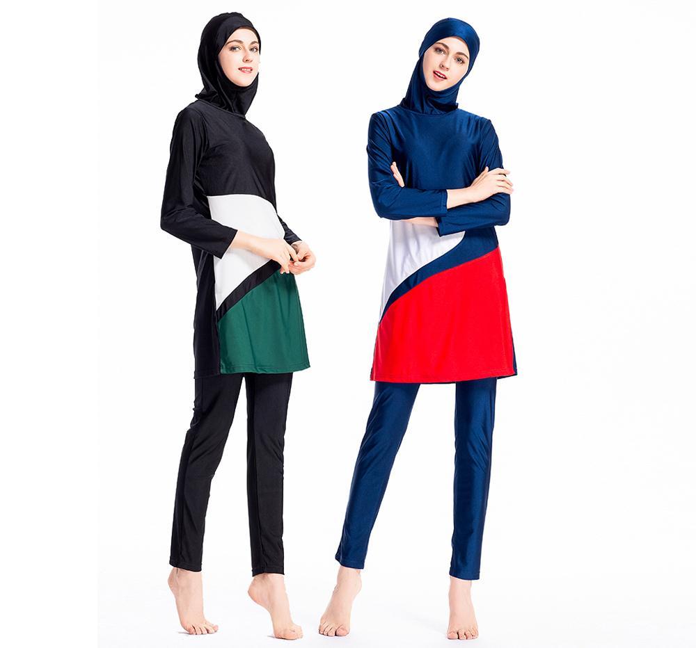 3 قطعة المسلمات متواضع ملابس السباحة غطاء كامل الحجاب الاستحمام الدعاوى بحر Burkini الإسلامية ملابس المايوه الرياضية عارضة جديد