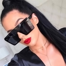 2020 New Oversized Square Sunglasses Women Luxury Brand Fashion Flat Top Black Clear Lens One Piece