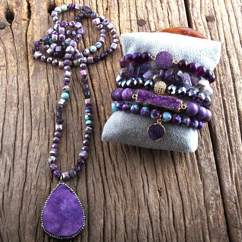 RH Fashion-طقم مجوهرات بوهيمي ، أحجار شبه كريمة معقودة ، أحجار طبيعية ، درزي ، قلادة ، سوار