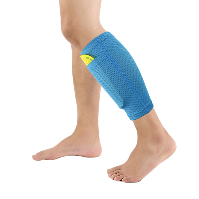 1 par macio meias de futebol protetor shin guard com bolso para o futebol shin pads perna mangas apoio adulto