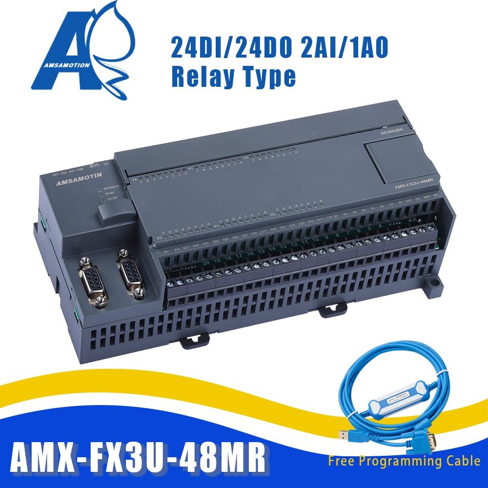 AMX-FX3U-48MR متوافق MELSEC PLC 2AI/1AO 24DI/24DO MODBUS وظيفة ميتسوبيشي شحن CIF31 RS232 كابل