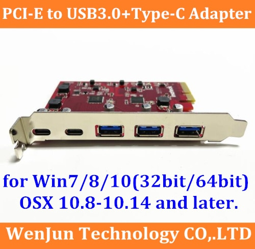 سوبر سبيد ماك برو 3 * USB 3.0 + 2 * type-C PCI-E X4 بطاقة محول التوسع لماك برو OSX 10.8-10.15.3/ويندوز/ماك برو 3.1-5.1