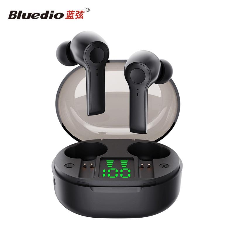 Bluedio D4 Беспроводные Наушники Hi беспроводные наушники Bluetooth стерео спортивные наушники с сенсорным управлением гарнитура с зарядным чехлом дисплей
