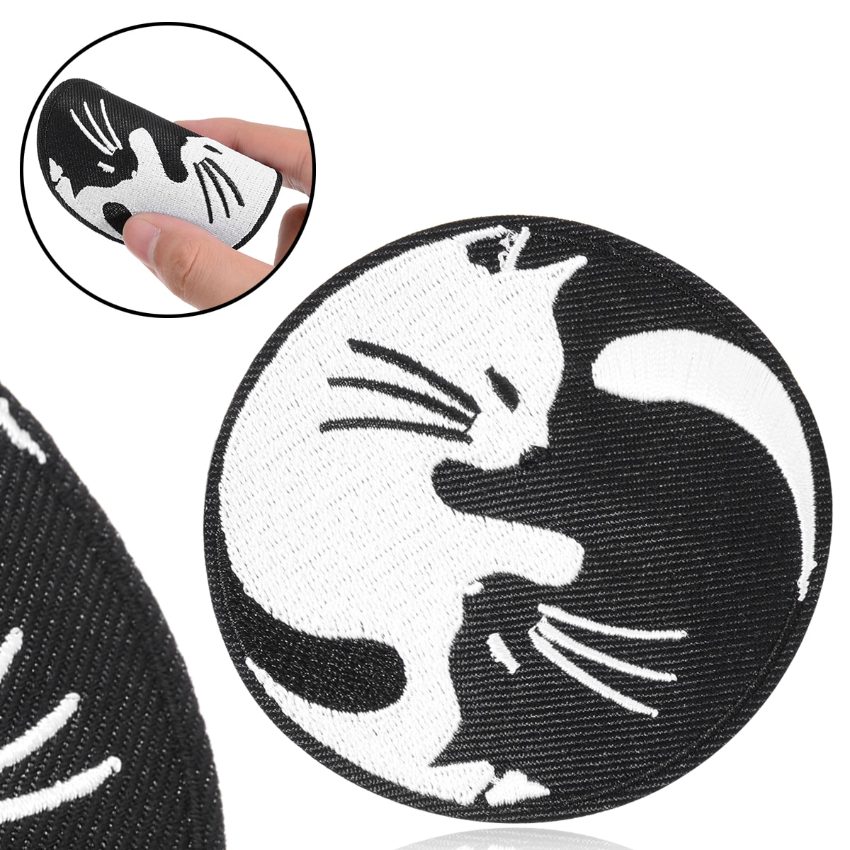 1pc New Animals Yin Yang White Black Cat Applique Sew Iron on Patch Badge Hat Jeans Fabric Cap T-shirt Cool Decoration