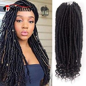 Dansama Faux Locs Crochet Hair 20 Inch Straight Goddess Locs Crochet Braiding Hair With Curly Ends Soft Synthetic Braiding Hair
