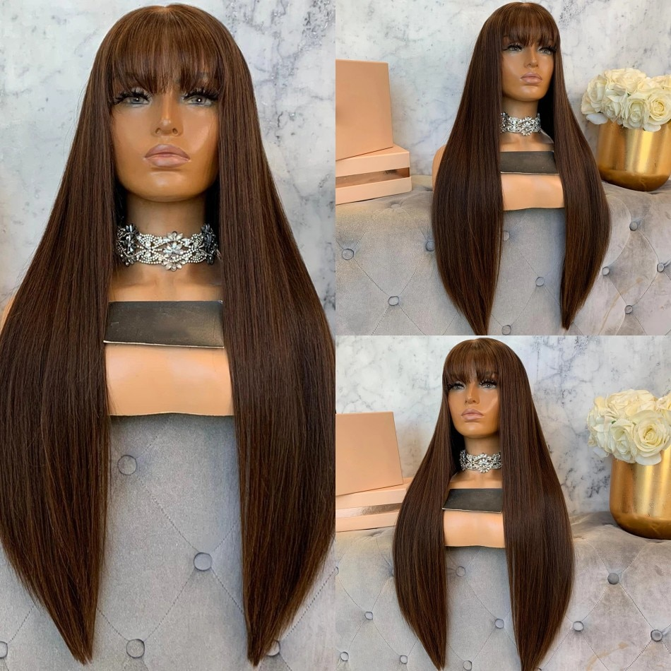 13X6 Deep Part Space Silky Straight Human Hair Lace Front Wigs with Bangs Fringe Wigs 180 Density 360 Lace Front Wigs Remy Hair