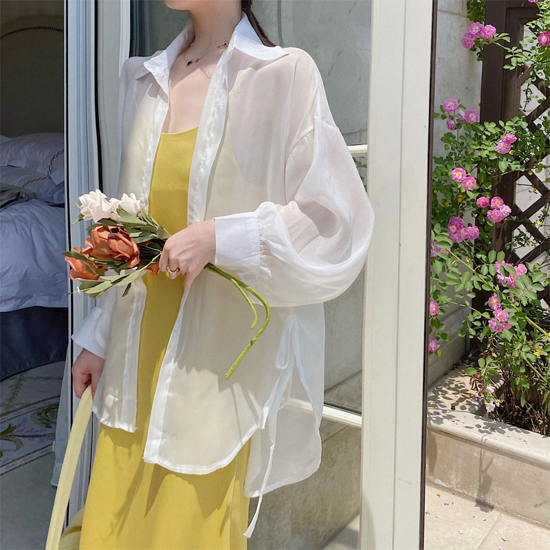 2021 Spring and Summer Fashion Slit on Both Sides Lace up All-Match Comfortable Chiffon Shirt Lapel