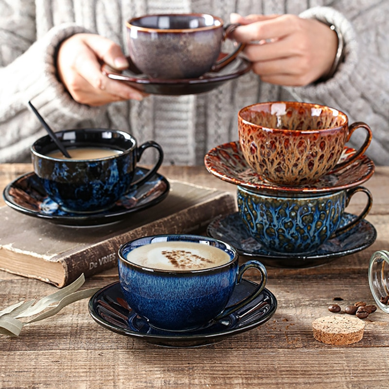 RHE 250ml Ceramic coffee cup set Travel Cup latte Milk tea mug Creative tea cup Party Lady Valentine's Day Anniversary Gift