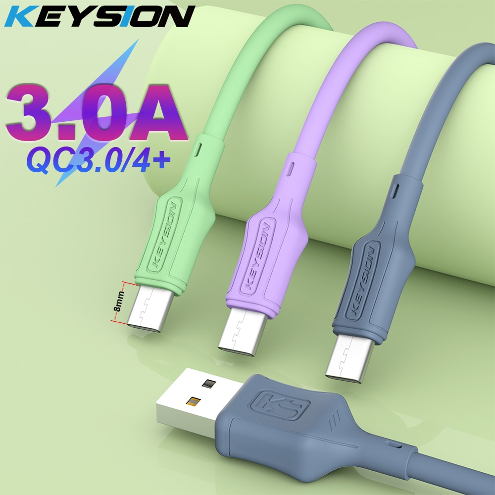 KEYSION 3A Liquid Silicone Type-C Cable for Redmi Note 10 9S 8 USB-C Fast Charging Data Sync Charger