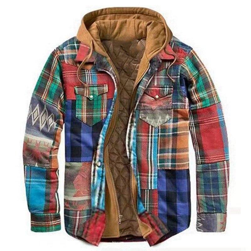 الشتاء قميص للرجال سميكة الدافئة قمصان Vintage منقوشة القطن الرجال مقنعين قميص سترة 5XL طويلة الأكمام Camisa الذكور